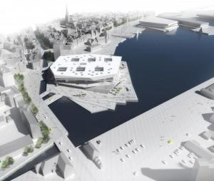 Dokk1 er placeret ved åens udløb i havnen. Illustration: Urban Mediaspace Aarhus.