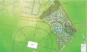 Et skitse hvor man kan se, hvor første etape af den nye bydel syd for Elev skal bygges. Tegning: Aarhus Kommune.