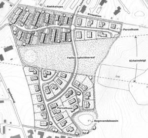 Tekningen viser hvordan boligerne bliver placeret på grunden ved Skødstrup Kirke. Tegning: Aarhus Kommune.