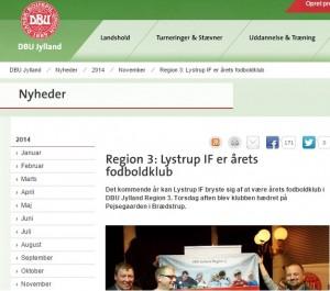 Lystrup IF's fodboldafdeling vandt også tidligere på året prisen som årets idrætsforening i DGI's kreds 3.