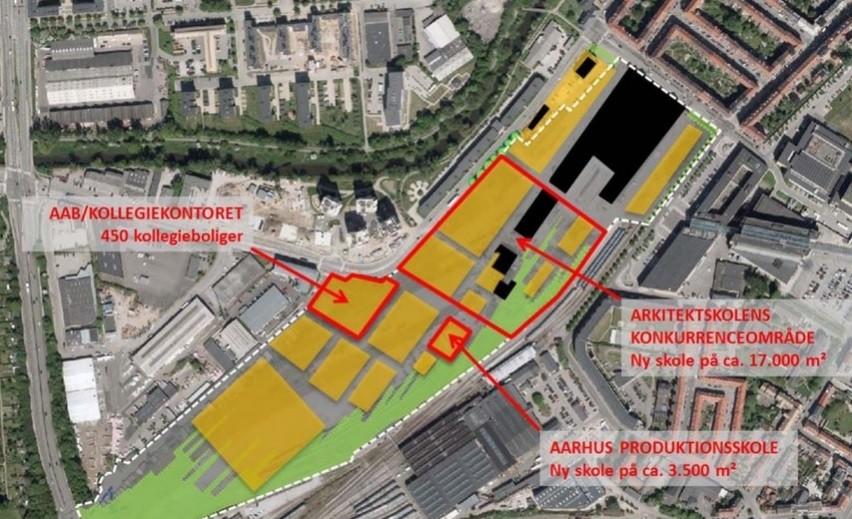 Området ved Godsbanen, hvor der blandt andet er afsat plads til en ny arkitektskole, produktionsskolen og ungdomsboliger. Grafik: Aarhus Kommune.