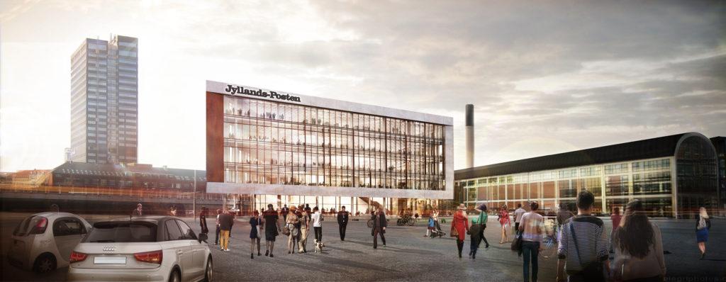 Jyllands-Posten kommer til at bruge størsteparten af de 8.500 kvadratmeter, som det nye mediehus kommer til at indeholde. Tegning: Henning Larsen Architects.